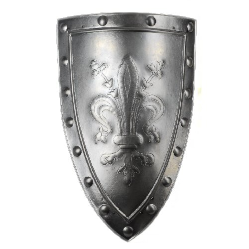 Medieval aluminum shield with emblem lily